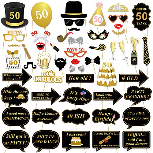 Konsait 50th Birthday Photo Booth Props 50 Black And Faux Gold Happy Decorations DIY Prop Kits With Stick For Party Favor